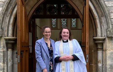 Alice and her partner on the day of her priesting